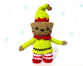 Elf Cat Amigurumi Pattern - Christmas Crochet Pattern