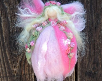 Wool Angel - Garden Flowers Fairy - Made to order- needle felted fairy- Waldorf-inspired