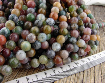 8mm Fancy Jasper Round Beads Smooth 8mm Beads Green Brown Pink Mauve White Cream 8 mm Indian Agate Beads
