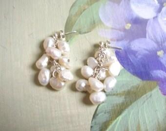New handmade ivory freshwater pearl pendant silver earrings