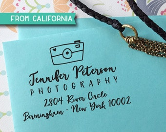 Christmas Photographer Self Inking Stamp or Rubber Stamp, Custom Stamp, return address stamp, photographer or photography event, Camera 320