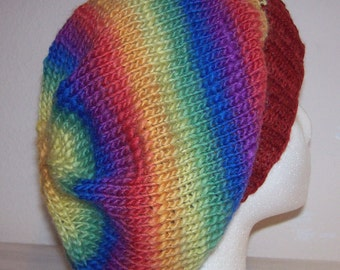 Wool/Nylon Slouch Hat - Slouchy Knit Beanie - Knitted Dreadlock Beanie - Slouchy Hat - Prism