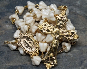 Czech Glass Rosary of Gilded Ivory Bell Flowers in Gold, 5 Decade Rosary, Catholic Rosary