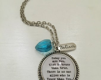 Today you are you that is truer than true Dr Seuss inspired necklace