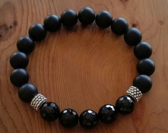 Men's Unisex Natural Black Agate Bracelet Matte & Faceted handmade (HGB10725)- Wrist size up to 8 inches- Ship from Canada