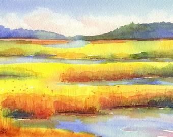 Original landscape watercolor painting, Lowcountry Marsh