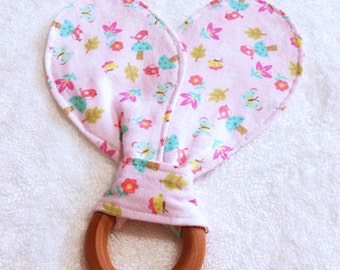 Pink Bunny Ears Teething Ring, Maple Hard Wood Teething Ring