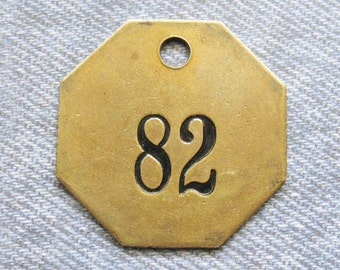 Brass Number Tag Antique Room 82 Key Fob Octagon Painted Motel ID Diy Repurpose Jewelry Hardware