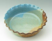 Pottery Quiche Pie Dish - Stoneware Deep Dish Baker or Casserole in Honey & Light Blue, 9 inch Serving Bowl Ready to Ship - Wedding Gift