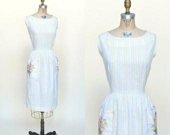 30% OFF Vintage Dress XL --- 1960s Striped Dress