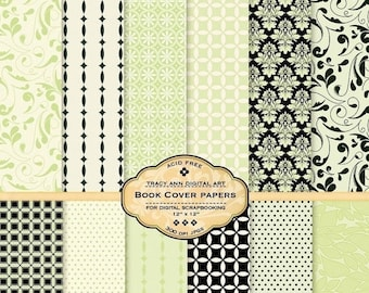 Book Cover Digital Paper pack for invites, card making, digital scrapbooking