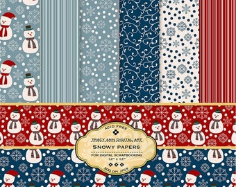 Snowman Digital Scrapbook Papers Printable for card making, scrapbooking Snowy