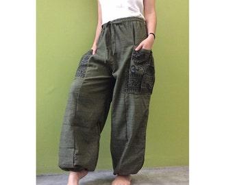 Hippie Gypsy Ohm Cotton Patchwork Pockets Unisex Long Aladdin Yoga Summer Pants S-L (OH 4)