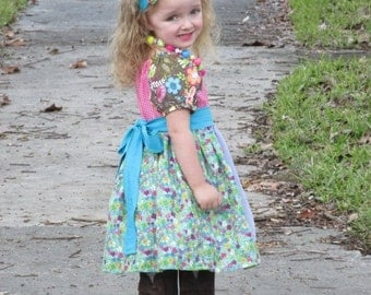 SALE Sewing Pattern/Tutorial for Apron Twirl Peasant tops and dresses sizes newborn through 12 girls Instant