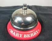 Vintage Mary Berry Tea Time Red and Silver Chrome Metal Table Top or Desk Bell