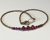 Handcrafted Simple Faceted Rubies And Brass Gemstone Necklace - Dainty - Earthy - Free U S A Shipping