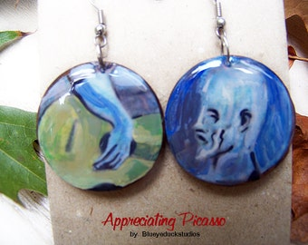 Tribute to Pablo Picasso, Old Guitarist, Mixed Media, Wood earrings, Fair Trade Hardwood, Handpainted, Collage, Fine Art, Guitar