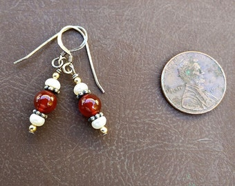 Red Carnelian Earrings with Freshwater Pearl