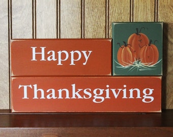 Happy Thanksgiving Shelf Sitter Blocks Sign Autumn Decoration Handpainted Pumpkins