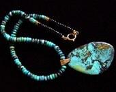 Natural Turquoise Black Onyx Necklace, huge pendant Southwestern tribal ethnic mens womens boho colorful fashion, Handmade gifts green blue