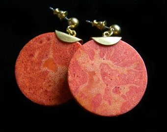 Large Sponge Coral earrings gold solid brass burnt orange disc simple disc statement jewelry unique pinkowljewelry ball posts