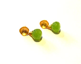 Chartreuse Green Chalcedony Gemstone with Vermeil Gold Post Modern Syle Earrings / Minimalist Earrings / Geometric Earrings