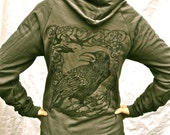 Tree Raven Crow Hoodie Gothic Poe OakZipUp Gray Unisex Made in USA Sm, M, L, XL, 2X