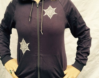 Celtic Purple Gray Bull Hoodie Protection Pagan Stars Zip Up Knotwork Horns Cattle Triquetra Triskele Small, Medium Only