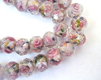 Glass beads 10mmx7mm lampwork with inner flower design, handmade, 20 beads