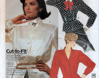 1986 Power Dressing Shirt Blouse and Tie with peplum Sewing Pattern 3 Sizes 10 12 14 Euro 36 38 40