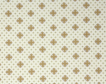 1950s Vintage Wallpaper by the Yard - Gold Brown and White Geometric Desgin