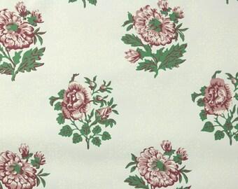 "1950s Vintage Wallpaper - Nancy McClelland Mauve and Pink Roses ""Gay Garden"""