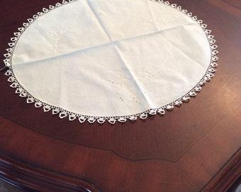 "Vintage Round Doily White on White Embroidery Crocheted Edge 20"" Diameter D0530a"