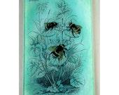 Bees glass cutting board, bumble bee glass art,bee trivet,glass bees,Vintage bees art, Vintage bee cutting board,