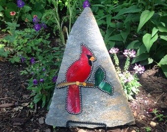 Cardinal Stained Glass Rock Garden Stone