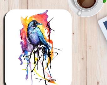 Rainbow Raven Watercolor Crow Bird Art Print Mouse Pad