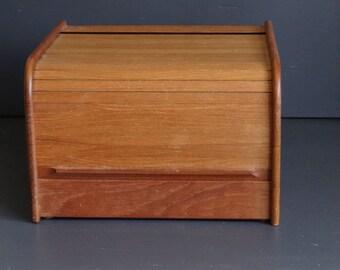 Teak Roll Top File Box Teak Tech Large Storage  CD Box