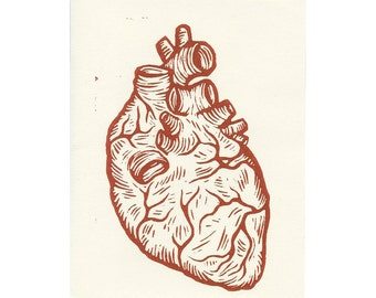 Anatomical Heart Greeting Card - Wedding Card - Anniversary Card - Doctor Gift - Cards - Greeting Cards - Blank Greeting Card - Linocut Art