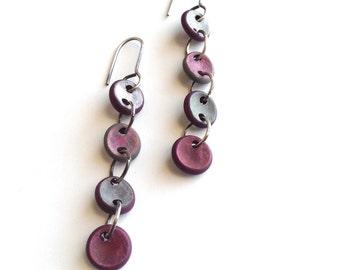Dangle earrings, contemporary jewelry, organic shape, red, white, sterling silver drop earrings