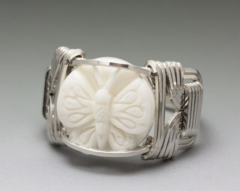 Carved Bone (bovine) Butterfly Cameo Sterling Silver Wire Wrapped Ring - Made to Order and Ships Fast!