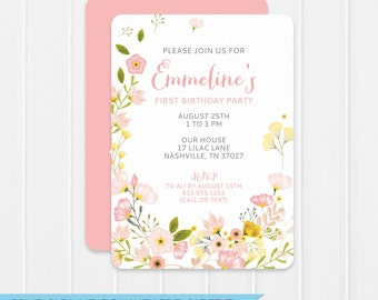 First Birthday Invitation - Floral  Birthday Party Invitation - DIY - Instant Download - Editable - Personalize at home with Adobe Reader