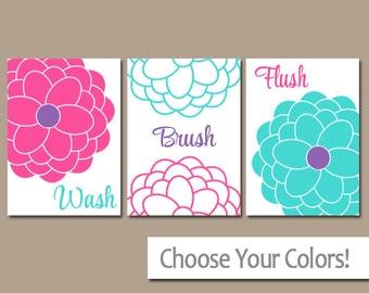 Girl BATHROOM Wall Art, CANVAS or Prints, Wash Brush Flush, Sister Bathroom Pictures, Pink Turquoise Purple Bathroom Artwork Set of 3