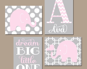 Girl ELEPHANT Nursery Wall Art, Pink Gray Nursery, Baby Girl Nursery Artwork, Dream Big Girl Bedroom Pictures, CANVAS or Prints Set of 4