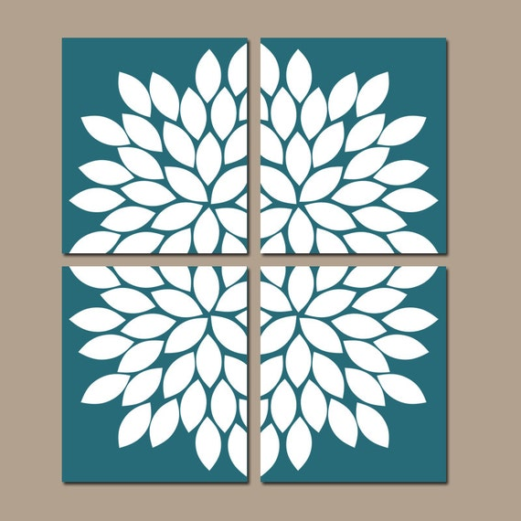 TEAL Wall Art CANVAS Or Prints Teal Bedroom Pictures
