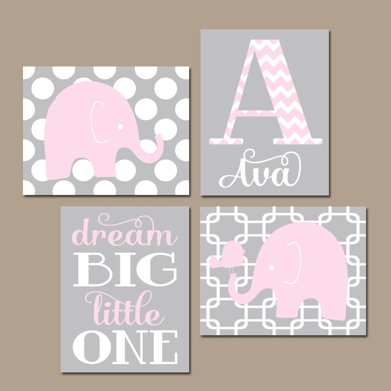 Pink And Gray Girls Baby Room: Girl ELEPHANT Nursery Wall Art Pink Gray Nursery Baby Girl