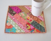 Quilted Mug Rug Snack Mat Candle Mat Plant Mat XL Coaster XL Hot Pad Basket Liner Mini-Mat Hostess Gift Quilted Strippy Patchwork Mug Rug