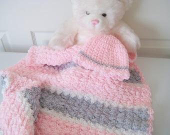 READY TO SHIP Pink Baby Girl Blanket Gift Set,  Crochet Baby Stroller Car Seat Blanket  Baby Gift Set - Pink, Grey, White Blanket