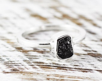 Abstract Engagement Ring 14k White Gold Raw Uncut Black Diamond