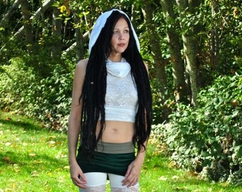 White Lace Cowl Top, Sleeveless Cropped Top with Cowl Hoodie