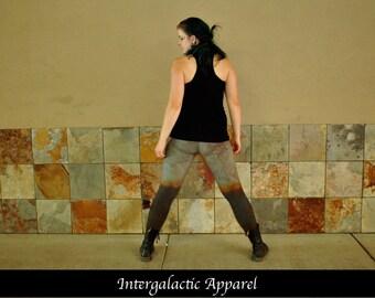 Organic Yoga Pants, Size MEDIUM Leggings with Hand Dyed Organic Fabric by Intergalactic Apparel